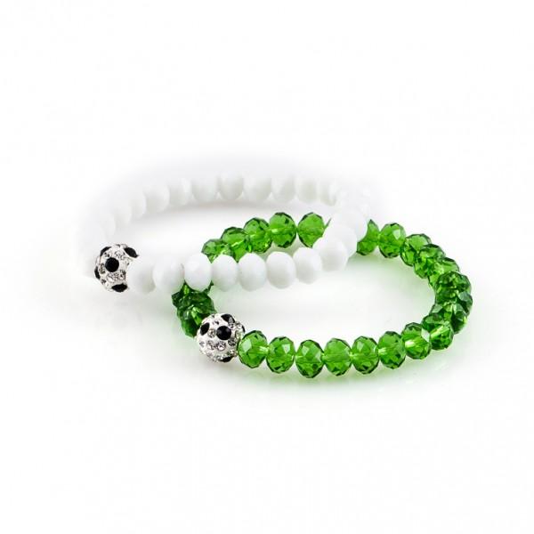 Kristallarmbänder Deine Farben weiß grün