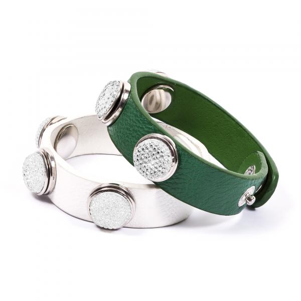 Druckknopfarmbänder Pressing grün weiß