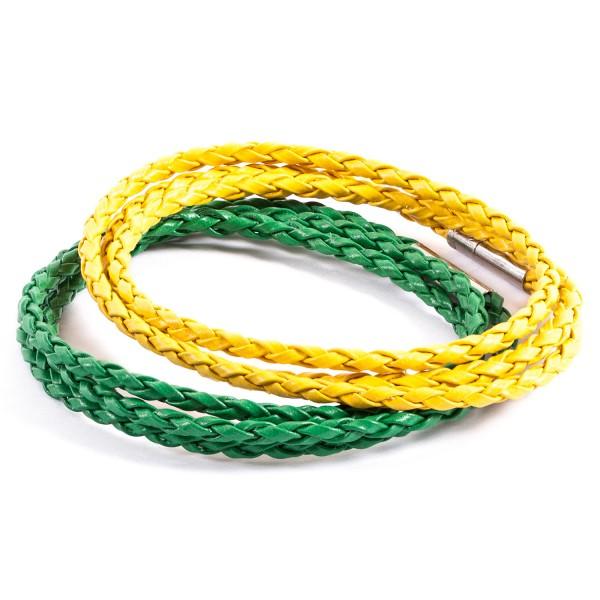 Lederarmbänder Doppelpack grün gelb by 12teFRAU